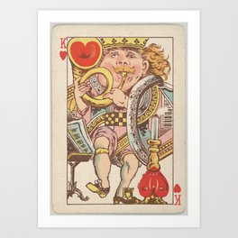 Vintage King of Hearts Playing Card (1889) Art Print