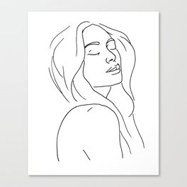 Woman in Reverie Line Drawing Canvas Print