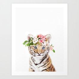 Tiger Cub with Flower Crown Art Print