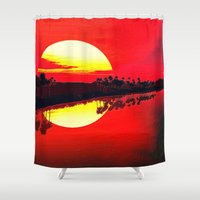 duvet cover Shower Curtains featuring Sunset duvet cover by customgift