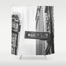 Wall street bw Shower Curtain