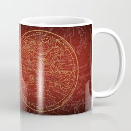 Antique Navigation World Map in Red and Gold Coffee Mug