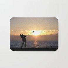 Playing Golf At Sunset Bath Mat