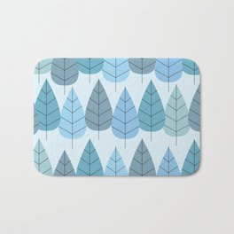 Mid century Trees in Blue Bath Mat