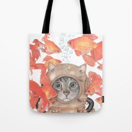 Scuba Cat Among the Fishes Tote Bag