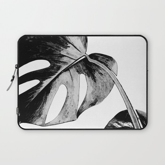 Black monstera leaves watercolor Laptop Sleeve
