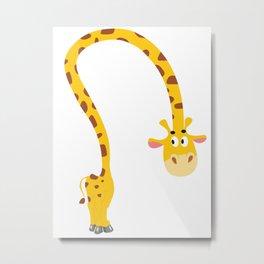 Tall Woodland Giraffe Metal Print