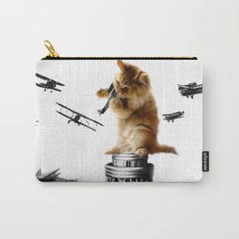 Classic King Kong Scene Cat Kitty Attack Space Galaxy Crazy Airplane Carry-All Pouch