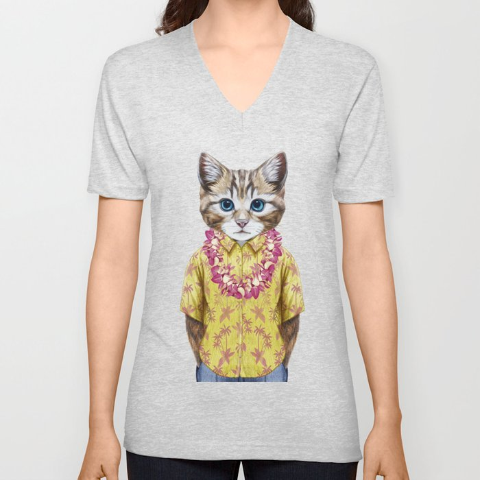 Portrait of Cat in summer shirt with Hawaiian Lei. Unisex V-Neck