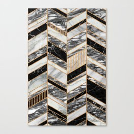 Abstract Chevron Pattern - Black and White Marble Canvas Print