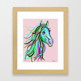 Teal and Pink Horse Framed Art Print