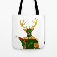 superheroes Tote Bags featuring superheroes sf by Jesse Robinson Williams