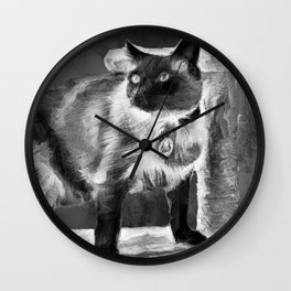 Sulley's Portrait In Black & White Wall Clock