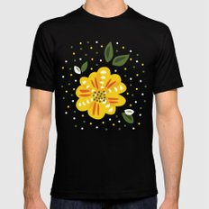 Abstract Yellow Primrose Flower Mens Fitted Tee MEDIUM Black