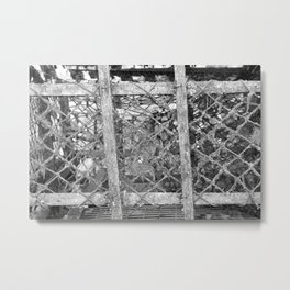 close up used old crap trap netting net moss black and white beach house antique Metal Print