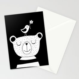 Monochrome Bear and Bird Stationery Cards