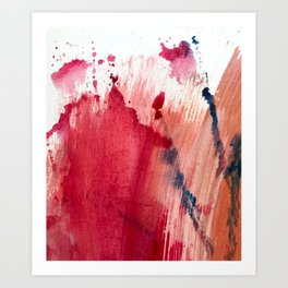 Blushing [3]: a vibrant, minimal abstract in pink, red, rose gold, and blue details Art Print