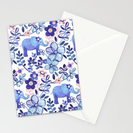 Pale Coral, White and Purple Elephant and Floral Watercolor Pattern Stationery Cards