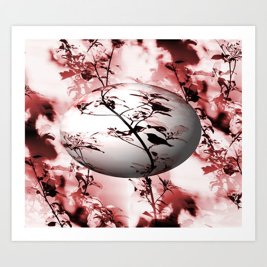 Silhouette of songbird on a branch in burgundy tone variation Art Print