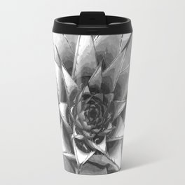 Black and White Cactus Succulent Travel Mug
