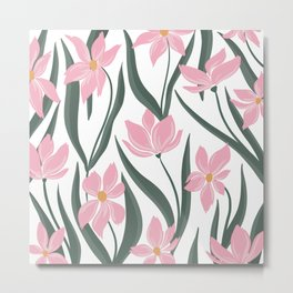 Floral Pattern - pink and white Metal Print