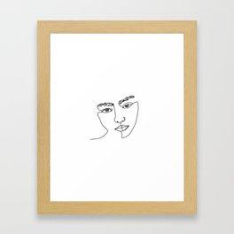 Face one line illustration - Esma Framed Art Print