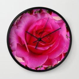 LARGE FUCHSIA PINK ROSE PATTERN ART Wall Clock