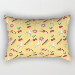 Modern yellow red fruit pizza sweet donuts food pattern Rectangular Pillow