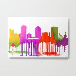 Wichita, Kansas Skyline - Puddles Metal Print