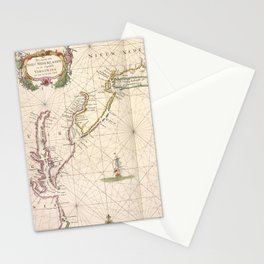 Vintage Map of New Netherland (1672) Stationery Cards