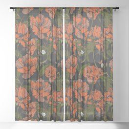 Autumnal flowering of poppies Sheer Curtain