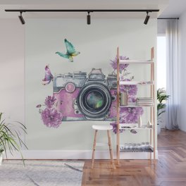 Camera with Summer Flowers 2 Wall Mural