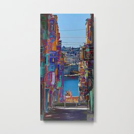 down the steps - valletta streets Metal Print
