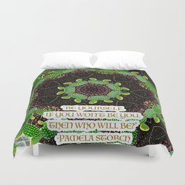 Be Yourself Quote on Cactus Duvet Cover