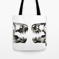 trex Tote Bags featuring Inkblot Trex Dinosaur by GeometricInk