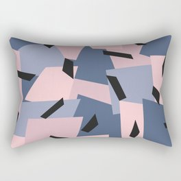 Patches Abstract Pattern Black, Blue, Pink, Gray Rectangular Pillow