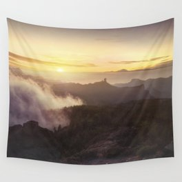 Sunset over the clouds Wall Tapestry
