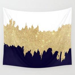Modern navy blue white faux gold glitter brushstrokes Wall Tapestry
