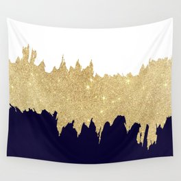 Modern navy blue white faux gold glitter brushstrokes Wall Tapestry