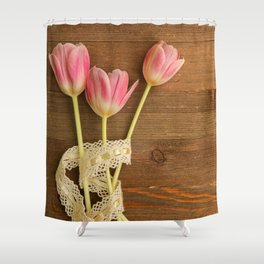 Pink Tulips Flatlay Shower Curtain