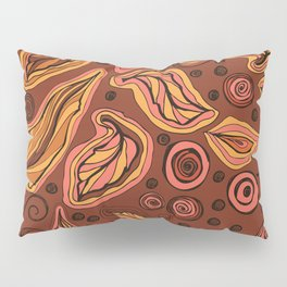 Doodle leaves and polka dots - oranges and pinks on brown Pillow Sham