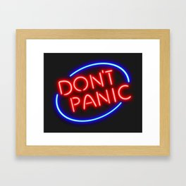 "Hitchhiker's Guide - ""Don't Panic"" Neon Sign Framed Art Print"