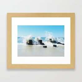 Waves Crashing on Pylons Framed Art Print
