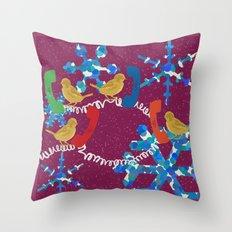 Four Calling Birds - 12 Days of Christmas Series Throw Pillow
