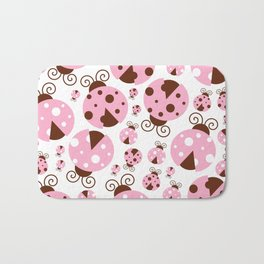 Ladybugs (Ladybirds, Lady Beetles) - Pink Brown Bath Mat