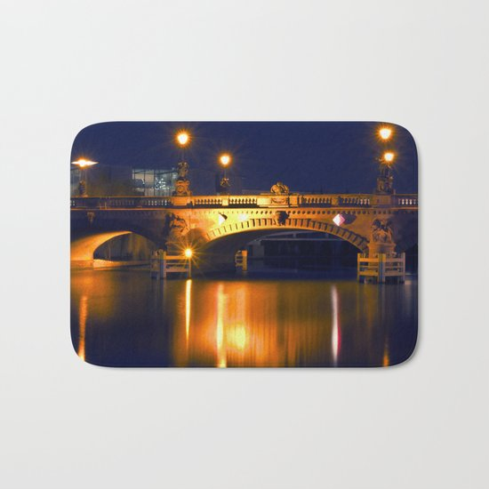 Nocturnal Lights on the river Spree in Berlin Bath Mat