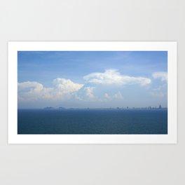 Ocean Sea Horizon with Mountains & Clouds Art Print