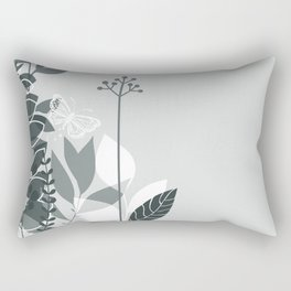 PPG Night Watch Pewter Green Botanicals and Butterfly Graphic Design 2 Rectangular Pillow
