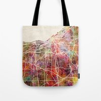 cleveland Tote Bags featuring Cleveland by MapMapMaps.Watercolors