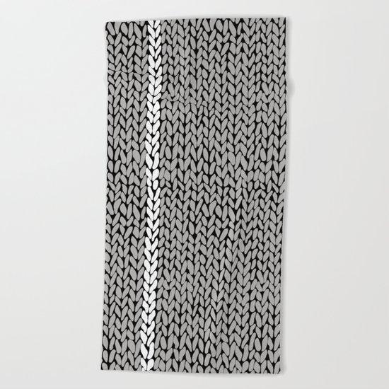 Grey Knit With White Stripe Beach Towel